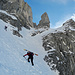 Bis zu 45° steil: Der Aufstieg durch den Felsriegel oberhalb Mettener Butzli.