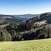 Wir halten uns rechts und wandern ins östlich benachbarte Tal des Fischerbachs herab. Lange können wir hier einen schönen Weitblick nach Südost geniessen.
