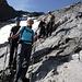 Sehr steiler Aufstieg Richtung Nordwestgrat des Piz Quattervals