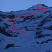 Things to come: Abfahrtsroute durch die Bütlasse NW-Flanke über dem Augstchummi vom Ausgang der Gamchischlucht aus gesehen