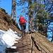 Um eine große Nagelfluhstufe herum kamen wir dann bis zum Gipfel in den Schnee