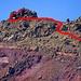 Noch stärkerer Zoom mit der Route ab dem [p First step]. Das wichtigste ist, dass man nicht in das rote Gelände unten gelangt.<br />