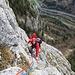 Imposanter Tiefblick nach der siebten Seillänge (Foto: Helma)