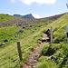 Hier endet der wilde Teil des Grats (Ende wbw). Im Hintergrund der Rosstock.