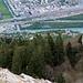 Tiefblick auf Mastrils, den Alpenrhein und Landquart