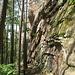 Abstieg entlang der hohen Seitenwand des Strackfelsens.