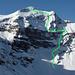 Schwalmere-N-Flanke mit projektierter Route vom Aufstieg zur Sulegg (7.4.2010): grün ist die Hoffnung, blau das Auge...
