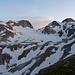 Hüenerstock, Witenwasserenstock, Witenwasserenpass, Chli- und Gross-Leckihorn, Witenwasserengletscher mit Gletschersee im Abendlicht