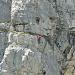 Einige Ferratisti in der Felswand am Hinter Eggstock
