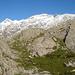 Cima di Camadra und Piz Medel vom Aufstieg auf die Fuorcla Sura da Lavaz