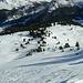 rechts die Alphütte bei Pkt.2195, links die Aufstiegsspur Richtung Minieras da Fiern