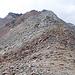 Hier sind wir im Sattel zwischen Piz Prüna und Piz Pischa. Jetzt den Grat entlang? Die große Steinman die noch einigermaßen zu erreicht ist, ist hier gerade noch sichtbar.