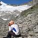 Auf etwa 2860 m Höhe. Der Blockgrat zieht sich bis etwa 3200 m hinauf.