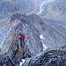 Reiten kurz nach dem Anseilpunkt, ganz am Gratende die (nicht sichtbare) Oberaletschhütte