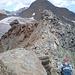 Rückblick vom Gipfel auf den Grat - hinten Schaufeljoch und Schaufelspitze