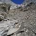 Beginn der ausgewaschenen Bachrinne bei 2910 m