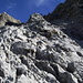 Oberhalb der Kletterstelle und Beginn der eigentlichen Flanke