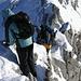 ausgesetzte Kraxlerei zurück zu den Skiern