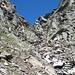 durch dieses reizende Couloir erfolgt der Aufstieg zu Passo del Laghetto