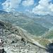 Anstieg zum Monte Moropass, unten der Mattmark Stausee
