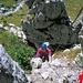 """Noch im unteren Bereich des Klettersteiges. Unterwegs mit """"selbstgebautem"""" Klettersteigset..."""
