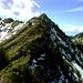 Sobald man höher kommt, darf man einige einfache Felsstufen überkraxeln. Rechts  die grüne Spitze ist das Damülser Horn (1929m)