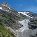 Die Route gesehen von Bänisegg Pt1808, neben dem Gletscher der anspruchsvolle teil der Route, Steilstufe ab Rots Gufer