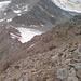 Abstiegsgrat unterhalb des Aperen Pfaff (I, stellenweise exponiert), unten an der Hütte gehts nach rechts runter auf den Gletscher