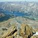 Der Silser See mit Sils Maria und der Chasté Halbinsel