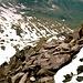 Blockwerk der Ahornspitze beim Abstieg mit Edelhütte