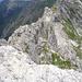 Abstieg in die Scharte, aus der wir aus dem Klettersteig aussteigen