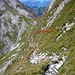 Der S-Hang der Vanil Noir. Die steile Traversierung ist meistens mit Kette gesichert. Hinten ist Plan de Eaux.