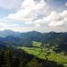 Walchensee, dahinter Heimgarten und Herzogstand, Jochberg, Hirschhörndlkopf, beide mit kahlem Haupt
