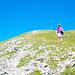 Das letzte Stück zum Südgipfel führt durch steiles Gras und auf Schotter