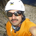 Me still on pitch 4, self portrait before climbing pitch 5. You can see the rest of the pitch reflected on my glasses :-)