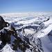 Nordwandcouloir (im linken Bildrand) Seilschaft auf den letzten Metern.<br />Kurz vorher den etwa 2m Hohe Felsturm den es zu überklettern Gild. (links neben Markierung)<br /><br />