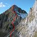 Routenverlauf über Schopfenspitz E-Flanke und E-Grat