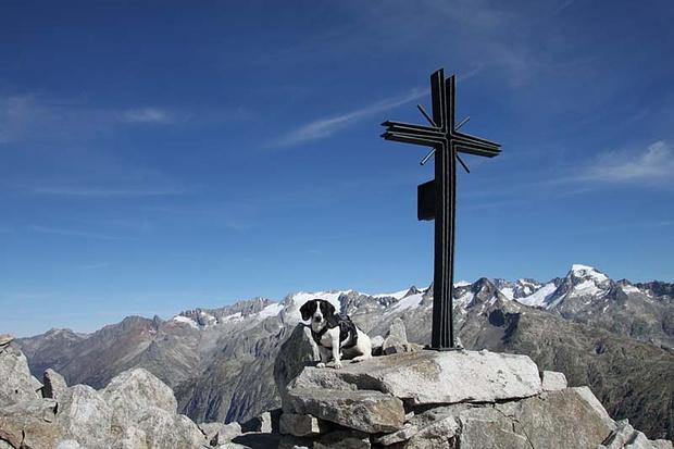 Nora beim Gipfelkreuz Sidelhorn
