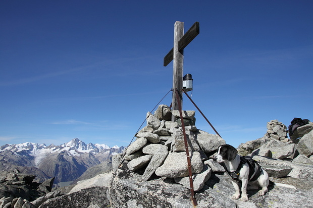 Nora mit dem Gipfelkreuz / Nora con la cruz de la cima