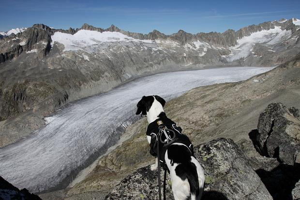 Nora bestaunt den Rhonegletscher
