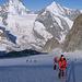 Sul Glacier du Mountet, alle nostre spalle, la Dent Blanche