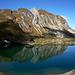 Zürser See in der Totale mit v.l.n.r der Mittagsspitze (Grasgipfel), Omesturm (Felsgipfel) und Omeshorn (Grasberg)