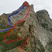 Culan vom Pointes de Châtillon E-Gipfel: rot Aufstieg entlang WSW-Grat, blau Abstieg WNW-Flanke