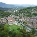 Feldkirch mit Flusslauf der ILL (flussabwärts Richtung Mündung in den Rhein)