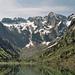 Der Lagh de Cama. Im Hintergrund der Piz Campanile 2458m, der Piz Caurga 24212m und der Piz Martel 2450m.