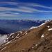 Panorama vom Gazzirola Südgipfel, schön zu sehen wie das Nebelmeer am Ceneri aufhört