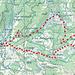 Übersicht der Route. Start Richtung Dünzenegg