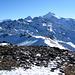 Auf dem Ginalshorn 3026m. Hinten rechts das Weisshorn 4506m