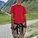 vor dem Einstieg an der Hütte