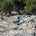[u Lena] in den letzten Kraxelstsufen kurz vor dem Gipfel des Süd-Schär